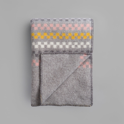 "Roros Tweed Toskaft Wool Blanket, Grey/Yellow - 53"" x 79"""