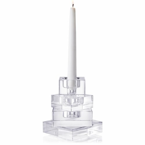 Orrefors Totem Majestic Clear Candlestick, Set of 4