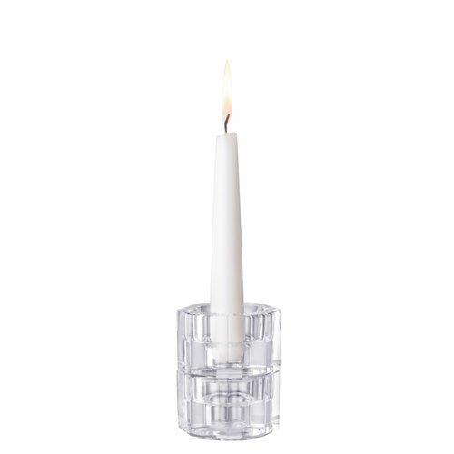 Orrefors Totem Tranquility Clear Candlestick, Set of 2