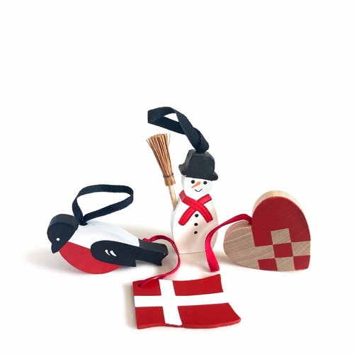 Traditional Wooden Folk Ornaments - Danish Set of 4