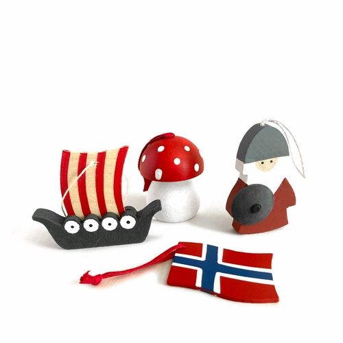 Traditional Wooden Folk Ornaments - Norsk Set of 4
