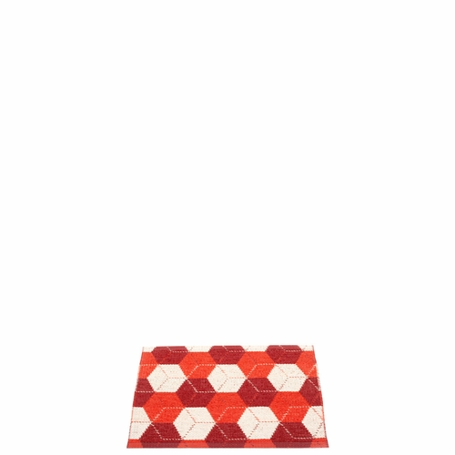 Pappelina Trip Plastic Rug - Berry/Coral Red/Vanilla, 2 1/4' x 1 3/4'
