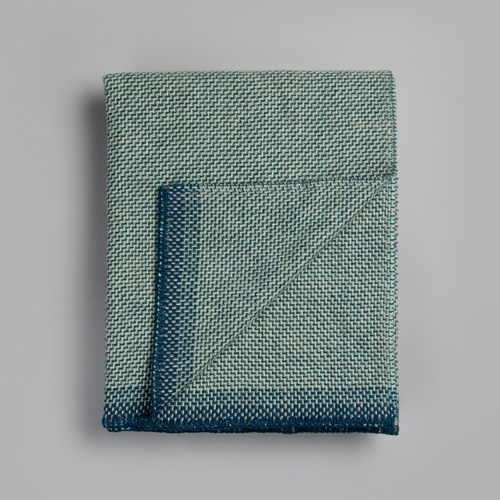 "Roros Tweed Una Wool Blanket, Blue - 53"" x 79"""