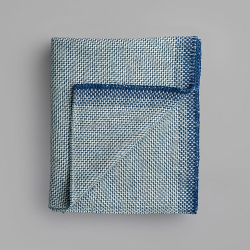 "Roros Tweed Una Wool Mini Blanket, Blue - 53"" x 39"""