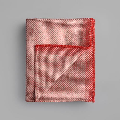 "Roros Tweed Una Wool Mini Blanket, Light Red - 53"" x 39"""
