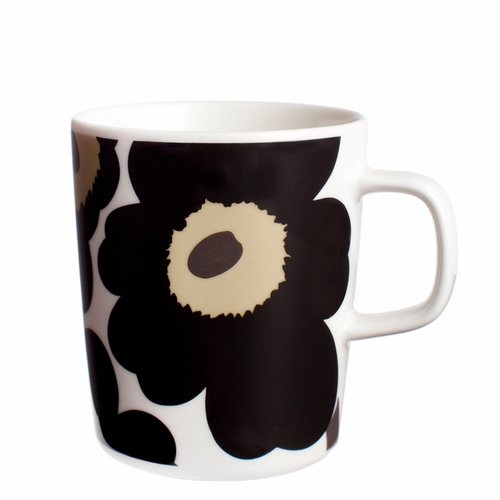 Marimekko Unikko Mug, White/Black, 8.8 oz - Starter Set of 6