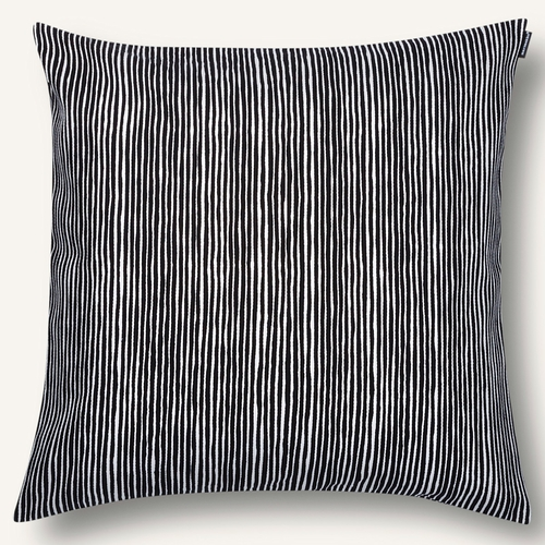 "Marimekko Varvunraita Cushion Cover, Black/White, 20"" x 20"""