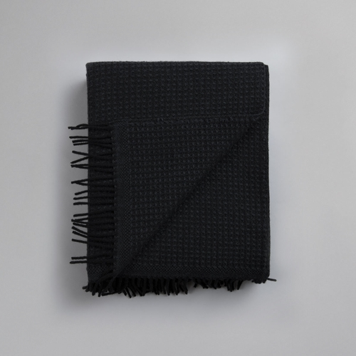 "Roros Tweed Vega Wool Blanket with Fringes, Black - 59"" x 83"""