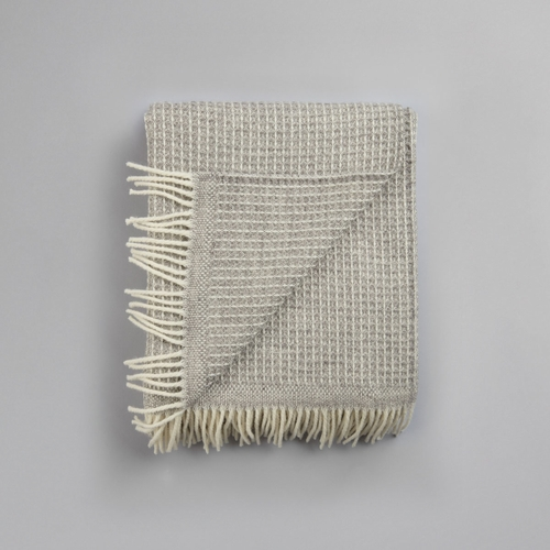 "Roros Tweed Vega Wool Blanket with Fringes, Grey - 59"" x 83"""