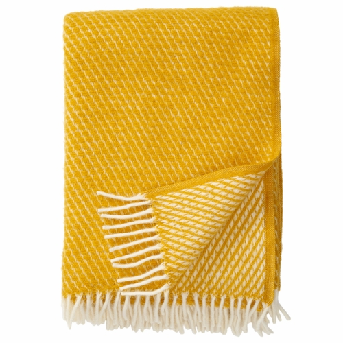 Klippan Velvet Brushed Lambs Wool Throw, Saffron