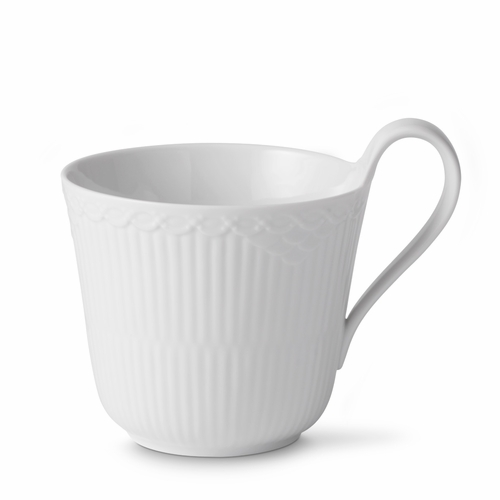 Royal Copenhagen White Fluted Half Lace High Handled Mug