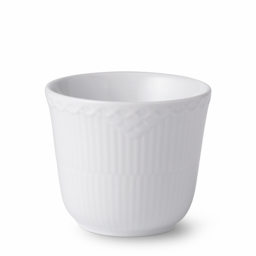 White Fluted Half Lace Thermal Cup, 8.5 oz