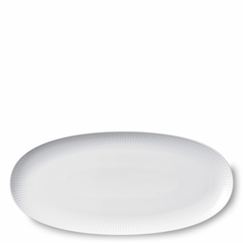 """White Fluted Plain Long Oval Dish, 14.5"""""""