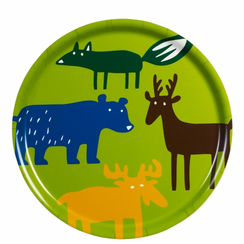 Bengt & Lotta Wild Animals Round Tray - 12.2""