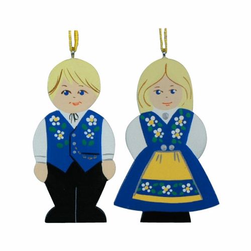 Wooden Swedish Folk Couple Ornament Set of 2 - 5 Sets Available