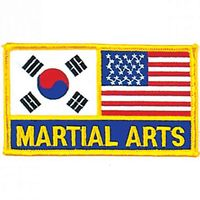 "2 FLAG MARTIAL ARTS PATCH 2.75"" x 3.75"