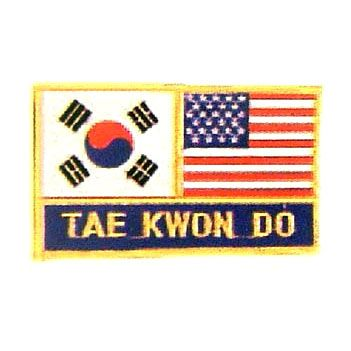"""2 FLAG + TAE KWON DO 2.75"""" x 3.75"""" PATCH"""