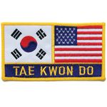 """2 FLAG + TAE KWON DO 3""""x5"""" PATCH"""