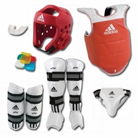 ADIDAS COMPLETE TAEKWONDO SPARRING GEAR SET WITH SHIN INSTEP