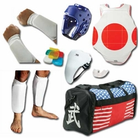 COMPLETE CLOTH SPARRING GEAR SET W/ SHIN, GROIN & BAG