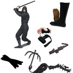 COMPLETE NINJA SET WITH WOOD SWORD