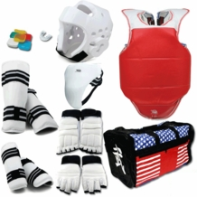 COMPLETE TKD VINYL SPARRING GEAR SET WITH SHIN HAND AND FOOT GUARD