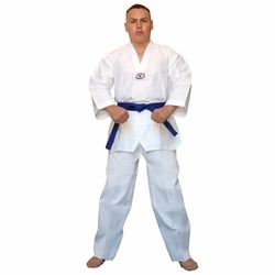 DELUXE RIBBED V-NECK WHITE TKD UNIFORM