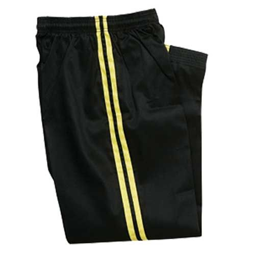 BLACK DEMO PANTS with GOLD STRIPE