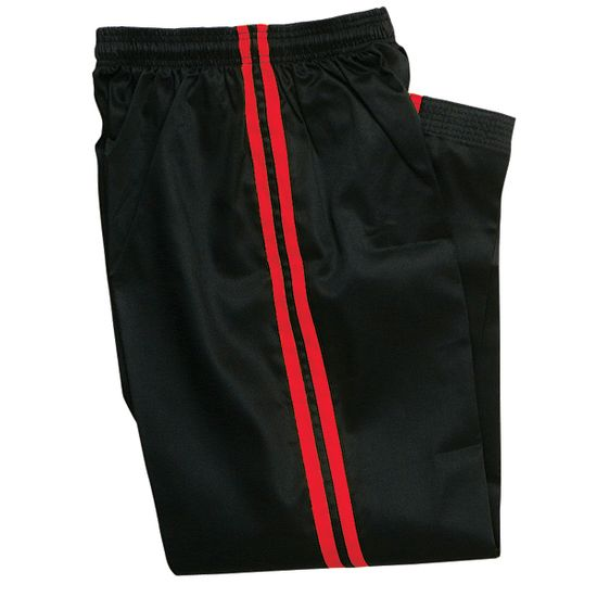 BLACK DEMO PANTS with RED STRIPE