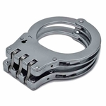 HEAVY DUTY HINGED HANDCUFFS SILVER - image 1