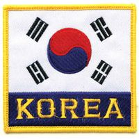 "KOREA FLAG PATCH WITH KOREA 3.5"" x 3.5"""