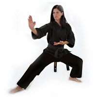 MACHO KARATE V-NECK MIDDLEWEIGHT UNIFORM  BLACK
