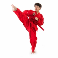 MACHO KARATE V-NECK MIDDLEWEIGHT UNIFORM RED