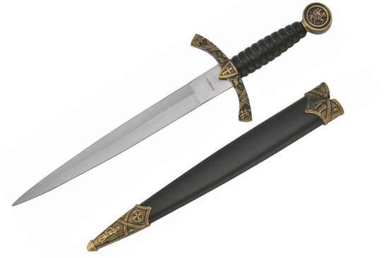 ZOOM MEDIEVAL DESIGNED DAGGER WITH KNIGHT AND HORSE DESIGN SCABBARD 14""