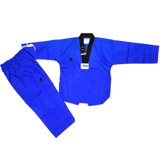 PINE TREE DELUXE WTF RIBBED TKD UNIFORM BLUE WITH BLACK V-NECK