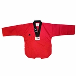 PINE TREE DELUXE WTF RIBBED TKD UNIFORM RED WITH BLACK V-NECK - image 1