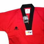PINE TREE DELUXE WTF RIBBED TKD UNIFORM RED WITH BLACK V-NECK - image 2