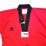PINE TREE DELUXE WTF RIBBED TKD UNIFORM RED WITH BLACK V-NECK - image 3