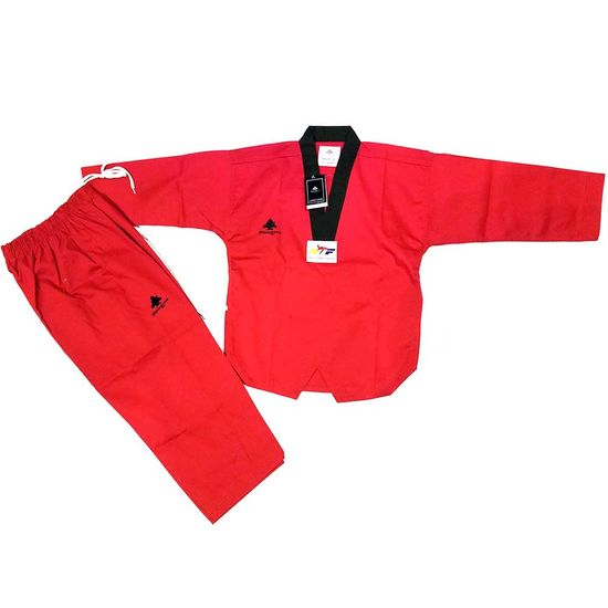 PINE TREE DELUXE WTF RIBBED TKD UNIFORM RED WITH BLACK V-NECK
