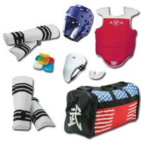 TAEKWONDO VINYL SPARRING GEAR SET WITH SHIN GUARD & BAG