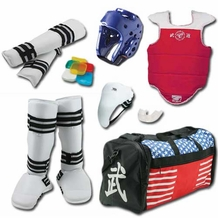 TAEKWONDO VINYL SPARRING GEAR SET WITH SHIN INSTEP & BAG
