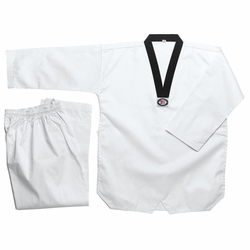 WHITE TAEKWONDO UNIFORM WITH BLACK LAPEL