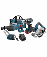 BOSCH CLPK402-181 - 18V Lithium-Ion Heavy Duty Brute Tough 4-Tool Combo Kit