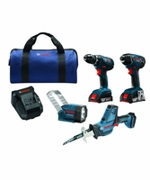 BOSCH CLPK495A-181 - 18V 4-Tool Combo Kit w/ Drill/Driver, Impact Driver, Recip Saw & Flashlight