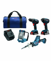 BOSCH CLPK496A-181 - 18V Lithium-Ion Compact Tough 4-Tool Combo Kit