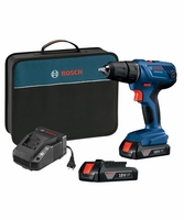 BOSCH GSR18V-190B22 18V Compact 1/2 In. Drill/Driver Kit w/ (2) 1.5 Ah SlimPack Batteries