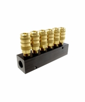 "Coilhose Pneumatics 3063-15C 6 Port Aluminum Manifold, 1/4"" 6-Point Industrial Interchange"