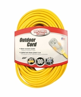 Coleman Cable 02589 100' Lighted End Outdoor Extension Cord 12/3 15A