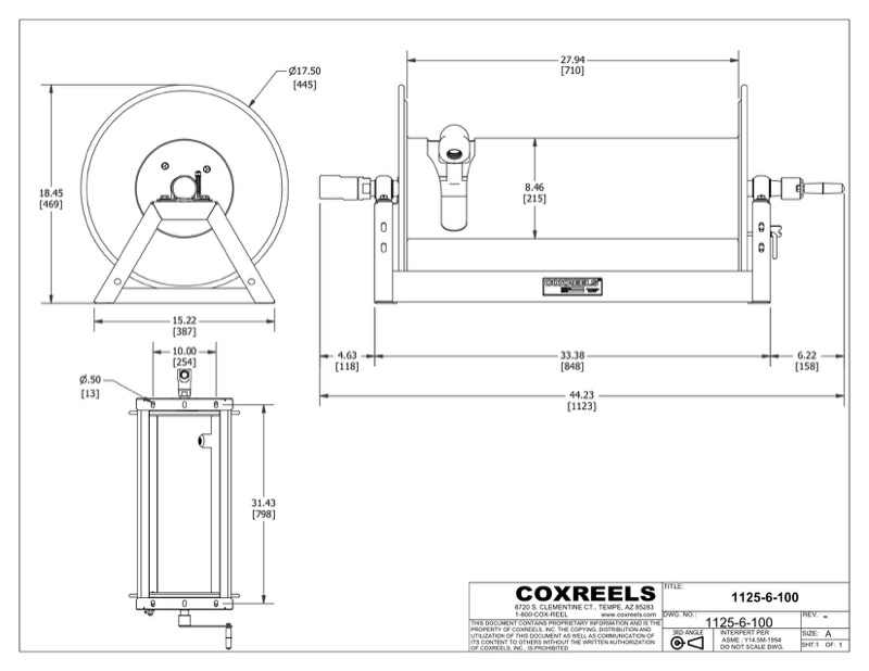 COXREELS 1125-6-100 Compeor reel capable of 100' of 1