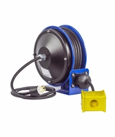 COXREELS PC10-3012-B Power Cord Reel capable of 30' of 12GA Cord Quad Receptacle